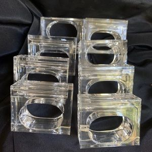 8 Lillian Vernon Clear Lucite Napkin Ring Holders